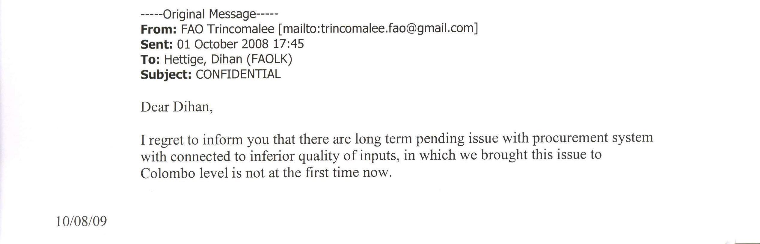Letter form Trinco office 1st part
