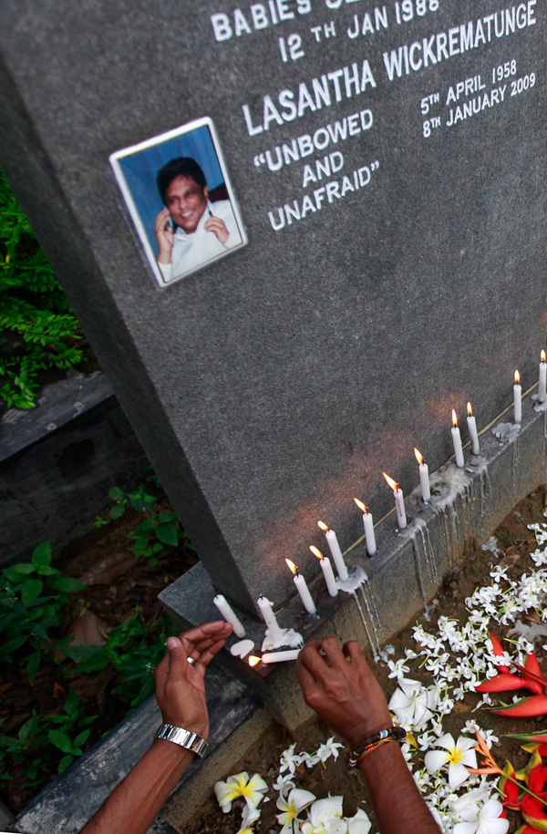 Lasantha Wickrematunge, the Editor-in-Chief of the Sunday Leader was killed 2009. Photo/REUTERS/Dinuka Liyanawatte