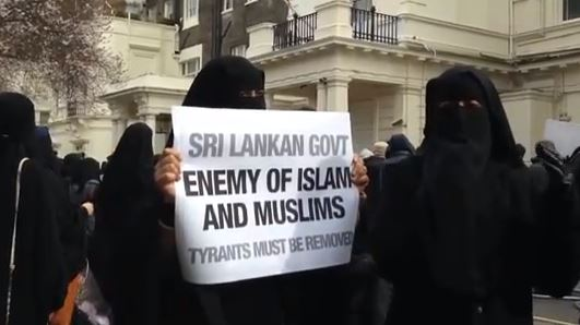 Muslim protest in UK against anti-Muslim offences in Sri Lanka