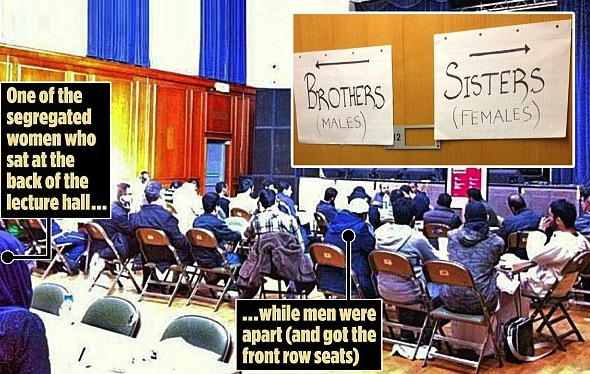The training course at Leicester University (left), featuring guest speaker Saleem Chagtai (right), was held by the same Islamic society which put up a sign separating women and men at a public lecture / Photo Daily Mail UK