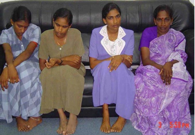 Thangarasa's Family at the TRO Kilinochchi Office after hearing the news of his abduction
