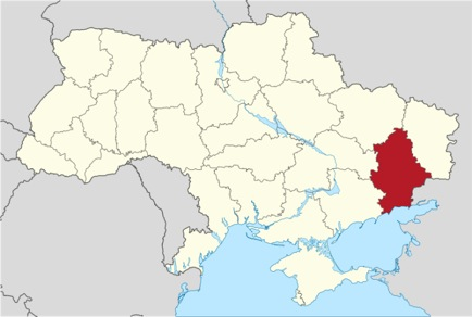 Donetsk Oblast in Eastern Ukraine. The two provinces just north of Donetsk and the one  to the south-west also have large ethnic Russian minorities. Crimea is in the extreme south