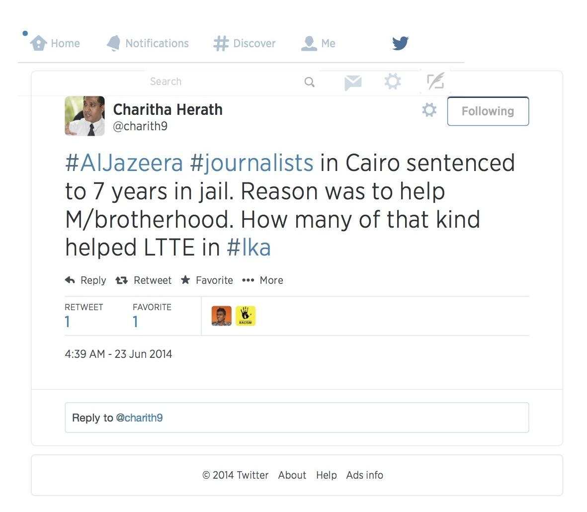 Twitter _ charith9_ #AlJazeera #journalists in ..
