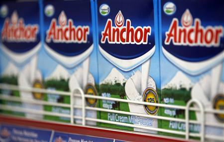Fonterra's Anchor brand milk powder packets are seen on shelves at a shop in Colombo
