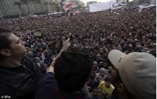 A seething mass of pro-democracy anti -Mubarak demonstrators showing their determination to remove a dictatorship. Military rule of 59 years ended in 2011.