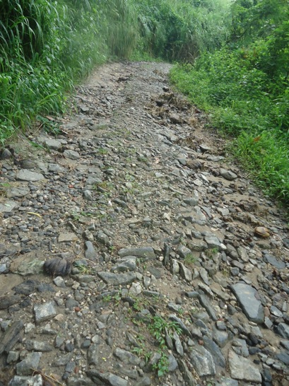 One of the damaged sections of our road
