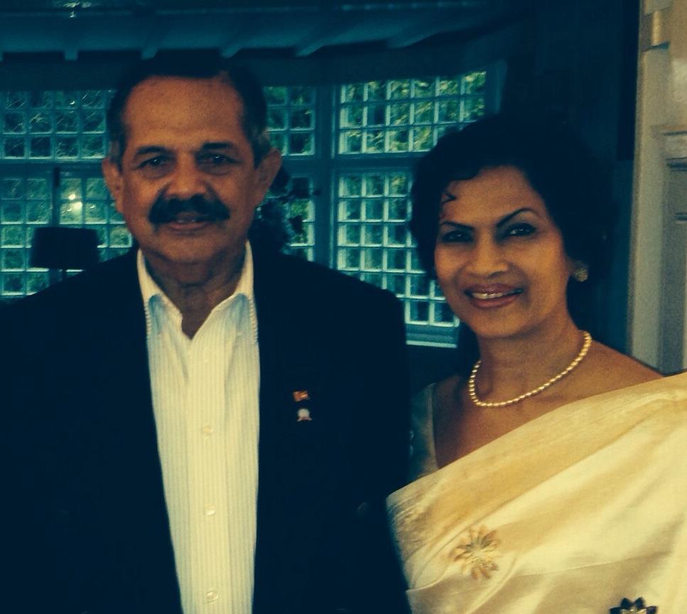 General Srilal Weerasooriya and his wife Dilhani