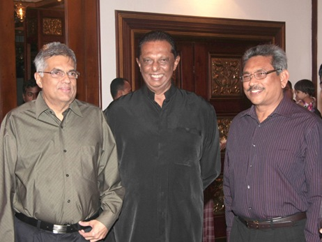 PM Ranil Wickremesinghe,Minister of Public Order John Amaratunga and former Defence Secretary Gotabaya Rajapaksa | File photo