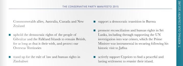 Conservative Party's election manifesto Sri Lanka