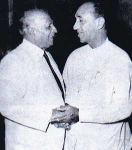 Dr. N. M. Perera with the architect of the 'Executive Presidency', President J. R. Jayewardene