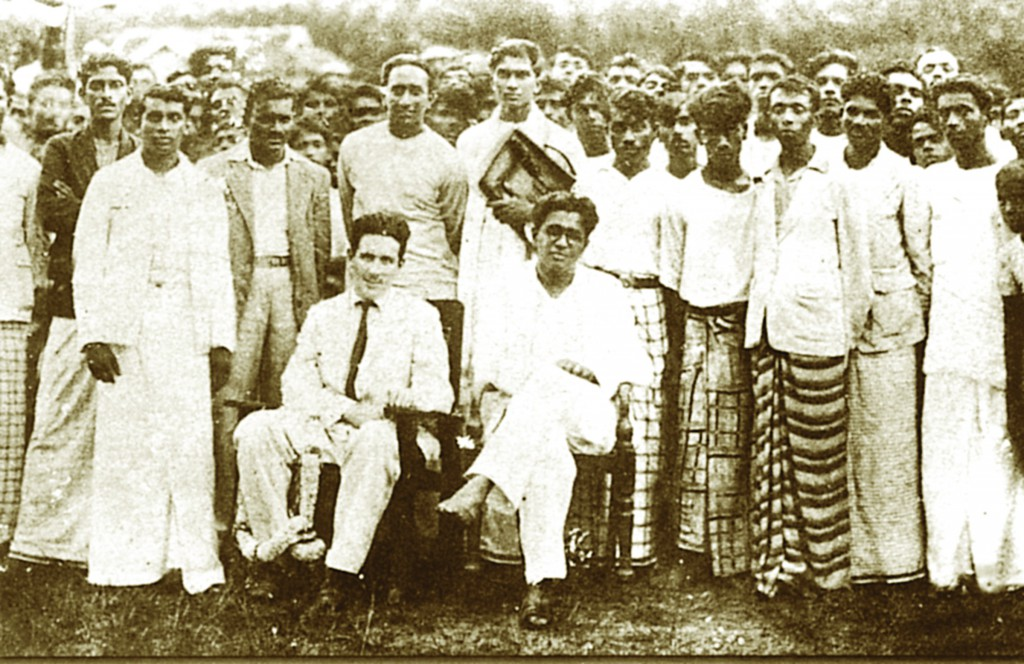 Bracegirdle beside Colvin R. de Silva and other Trotskyite leaders at Horana in 1937