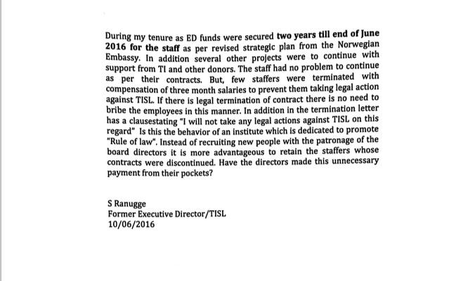 Transparency International Sri Lanka (TISL) Ranugge's letter