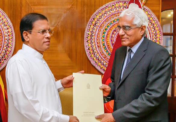 Dr. Indrajit Coomaraswamy received his appointment letter as the new Governor of the Central Bank from President Maithripala Sirisena, this morning (July 4) at the President's residence. | Photo The President's media unit.