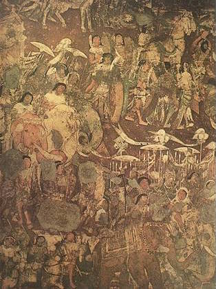 One of the murals at the Ajanta caves carry an elaborate depiction of King Vijaya's travel to the Sinhalese town. (Source: Wikimedia Commons)