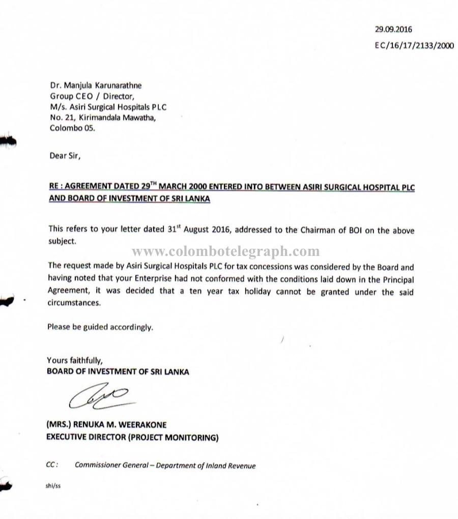 asiri hospital wants new boi board to help facilitate tax evasion
