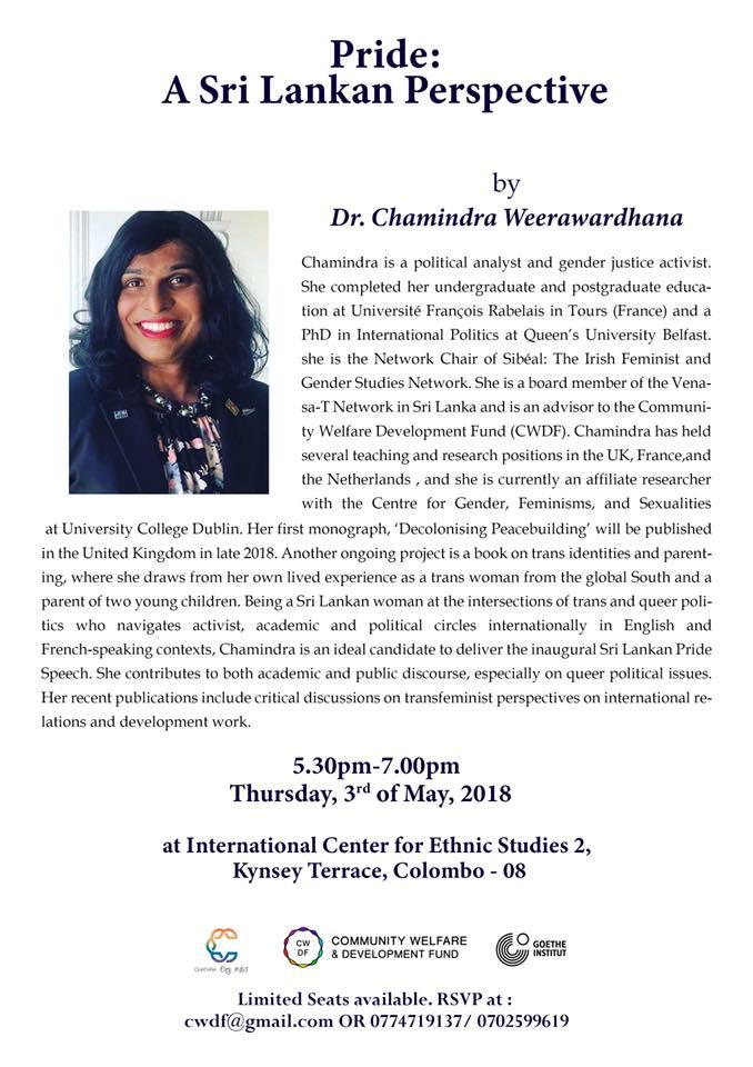 Event Invitation Pride A Sri Lankan Perspective Colombo Telegraph